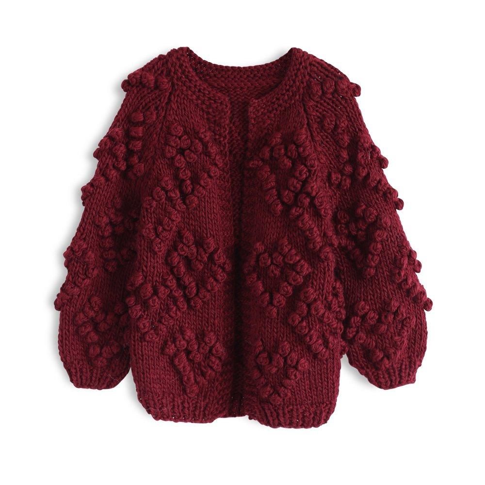 Chicwish Girl's Soft Heart Shape Balls Hand Knit Wine Red Cardigan