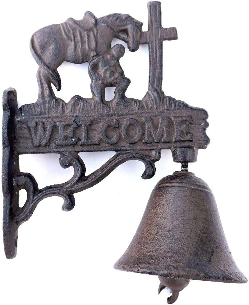 Colors of Rainbow Praying Cowboy and Cross Welcome Dinner Door Bell Cast Iron Wall Mount