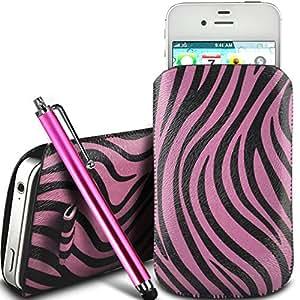 Online-Gadgets UK - Nokia Lumia 635 protección PU Zebra Diseño deslizamiento cordón tirador de la cremallera en la caja de la bolsa con cierre rápido y grande Stylus Pen - Rosa