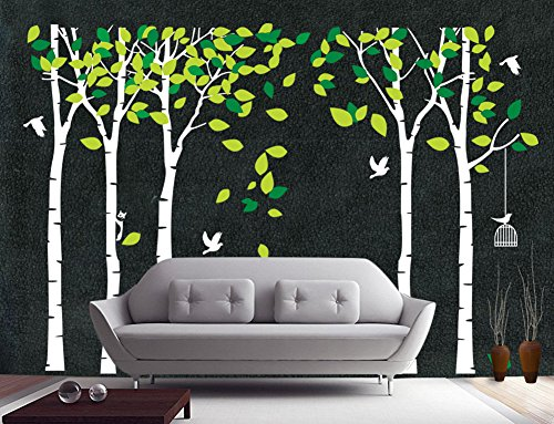 Fymural 5 Trees Wall Decals - Forest Mural Paper for Bedroom Kid Baby Nursery Vinyl Removable DIY Decals 103.9x70.9, White+Green by Fymural (Image #1)