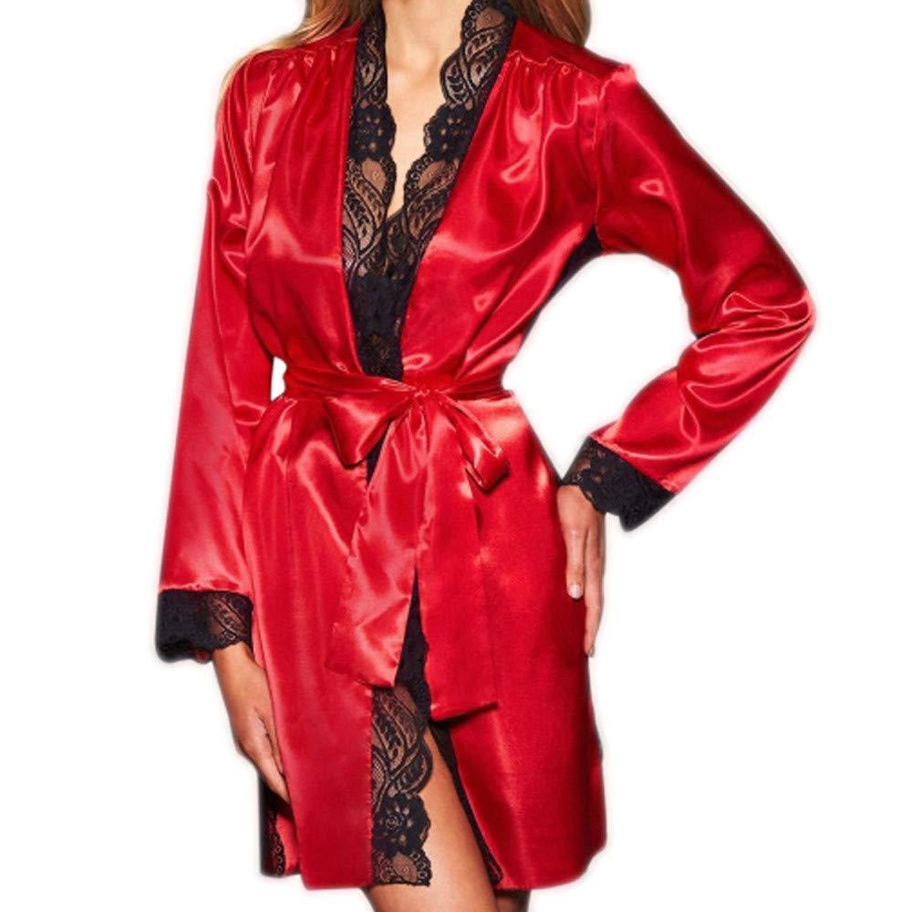 Conjuntos de lencería Mujer erótico Vestido de Kimono de Seda Sexy para Mujer Ropa Interior de Encaje Babydoll Bata de baño Ropa de Dormir Amlaiworld: ...