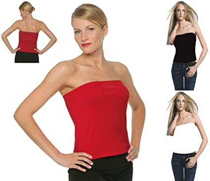 38d3b26d8b Ladies Boob Tube Bandeau Strapless Tops In Deep Red M  Amazon.co.uk   Clothing