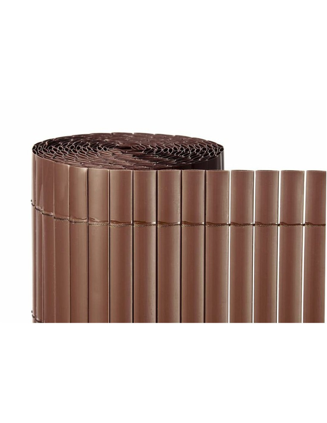 Jardin202 1x3m - CAÑIZO PVC Simple Cara Marron Chocolate 900gr/metro Cuadrado