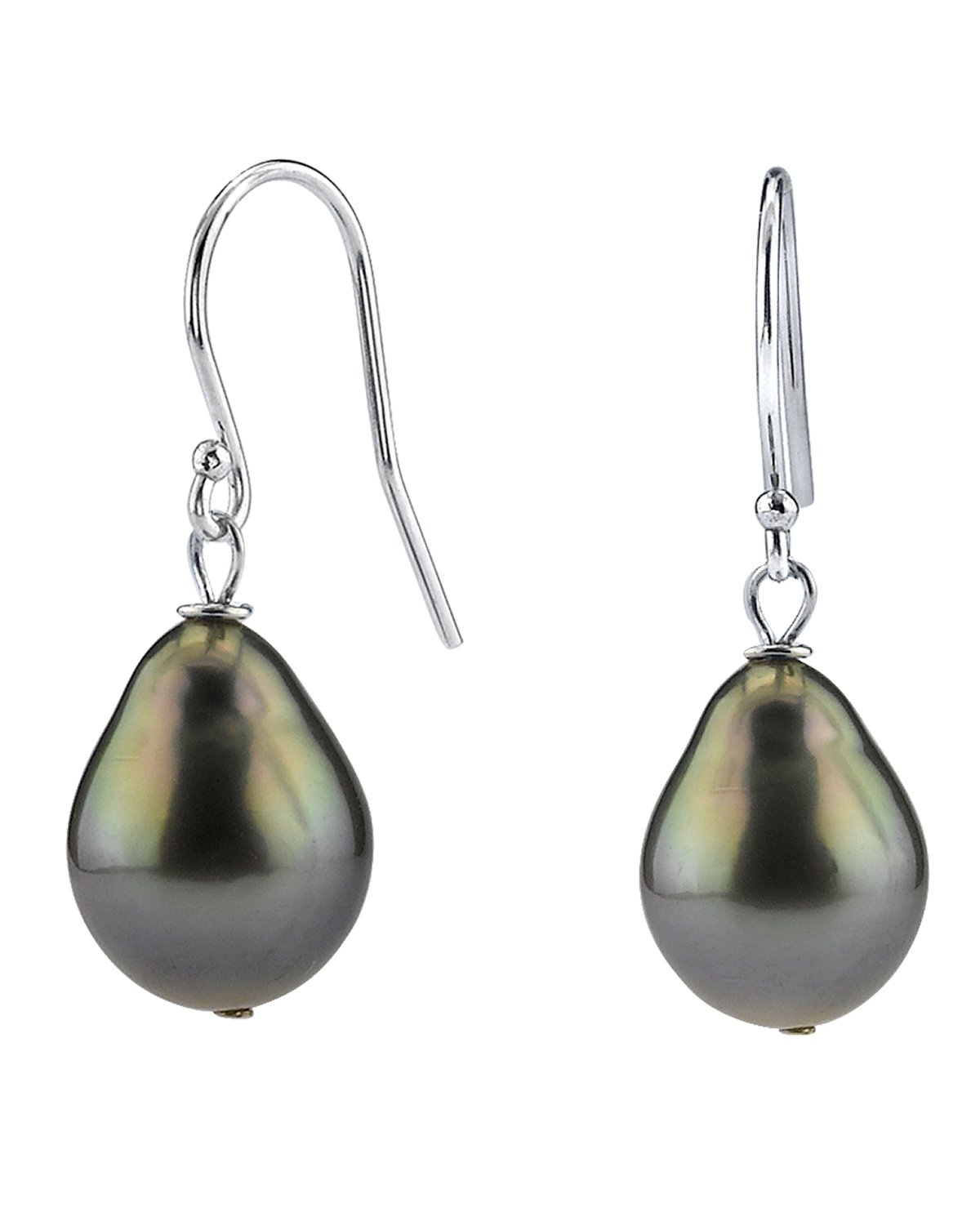 14K Gold 9mm Tahitian South Sea Drop Cultured Pearl Dangling Tincup Earrings by The Pearl Source (Image #1)