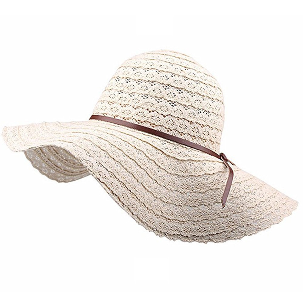 Women Summer Wide Brim Fedora Sun Hats Ladies Foldable Floppy Travel Packable  Beach Hat UV Protection (Beige) at Amazon Women s Clothing store  cbabb873a0c