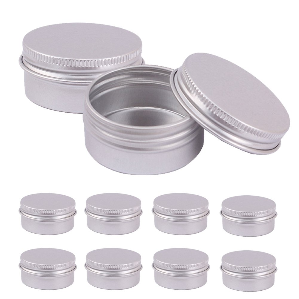BERTERI Metal Round Tins 10PC Candle Tins Gift Containers, Great for Party Favors, Gels, Creams, Crafts, Candies and Gifts(Color Random)