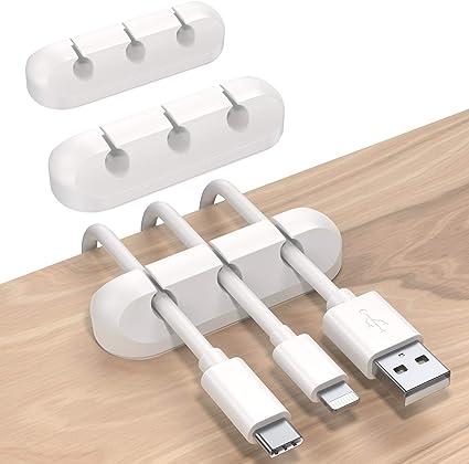 noir support de c/âble en silicone c/âble USB Organisateur de c/âble de bureau pince de rangement de c/âble pour cordons dalimentation noir maison et bureau
