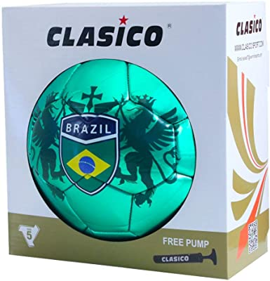 CLASICO Training /& Recreation Soccer Ball Free Carrying Net Bag /&Needle with Nation Pattern Official Size 5 for Ages 12+