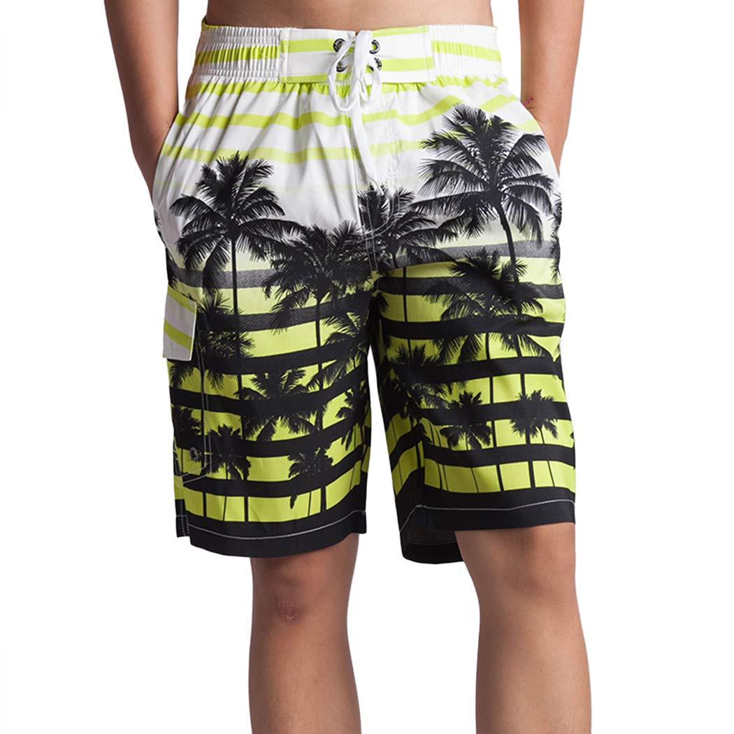 AIBBMIN Mens Fashion Coconut Tree Printed Beach Shorts Fast Drying Sports Shorts Swim Trunks