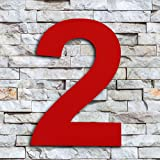 QT Modern House Number - 6 inch RED - Stainless Steel (Number 2 Two), Floating Appearance, Easy to Install and Made of Solid 304 Stainless Steel