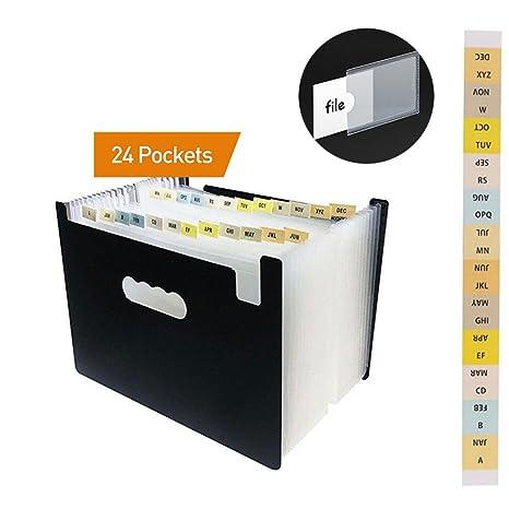 Clasificadores Carpetas de Acordeón con 24 Bolsillos, A4 Organizador de Archivos Ampliable, Archivadores Escolares