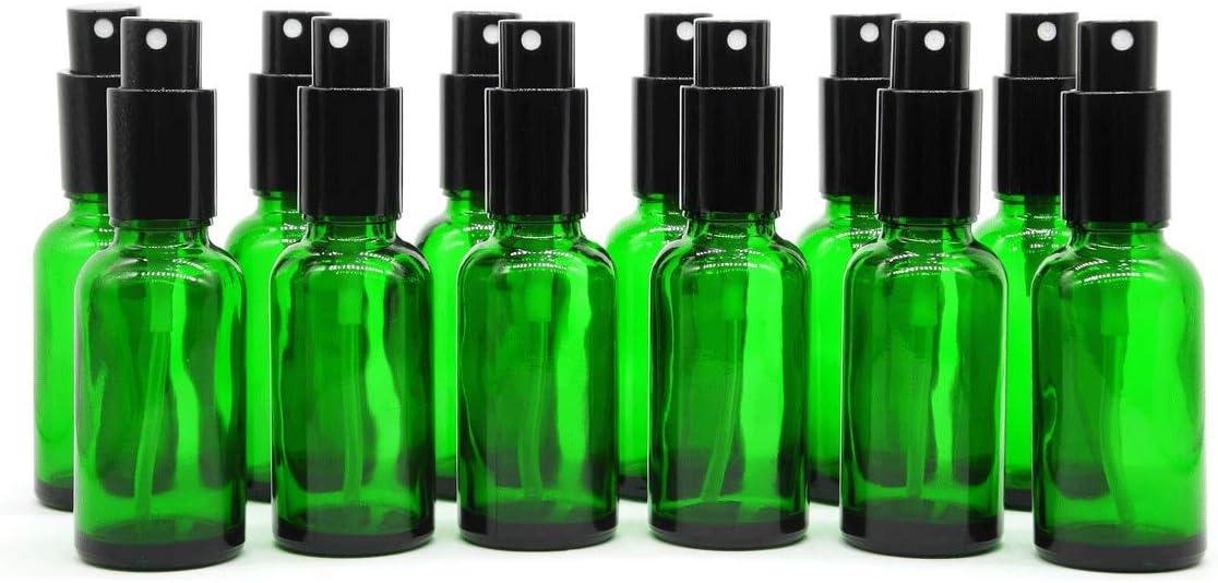 Yizhao Verde Pulverizador Cristal 30ml, Glass Spray Bottles con [Atomizador],para Aceites Esenciales, Mezclas de Aromaterapia, Perfumes, Masajes, Líquidos Químicos, Farmacéutico– 12Pcs