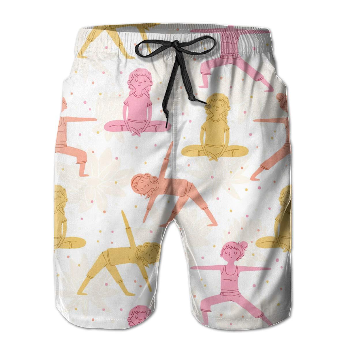 Fancy Illusion Pilates Yoga Cool Boys Mens Shorts Swim Trunks Board Shorts for Men
