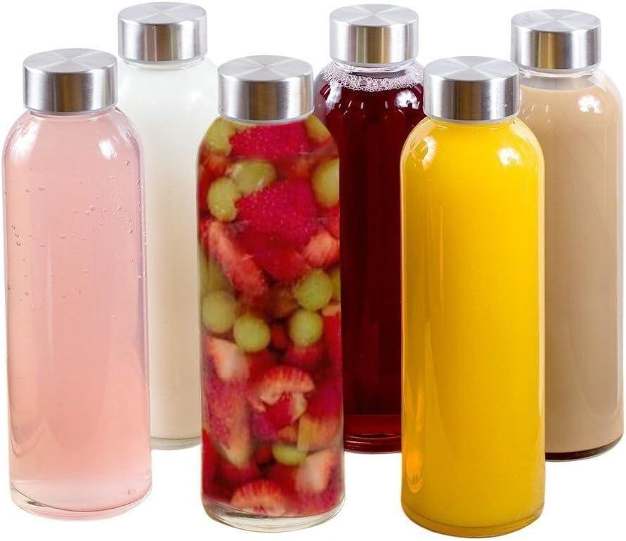 Brieftons Borosilicate Glass Water Bottles: 6 Pack, 18 Oz, Stainless Steel Lid, Durable, Crack & Heat Resistant, Best As Reusable Drinking Bottle, Sauce Jar, Juice Beverage Container, Kefir Kit