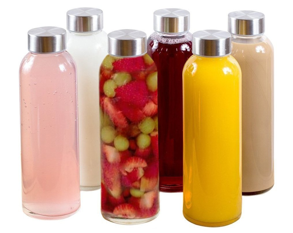 Amazon.com  Brieftons Glass Water Bottles  6 Pack a138166c2a46