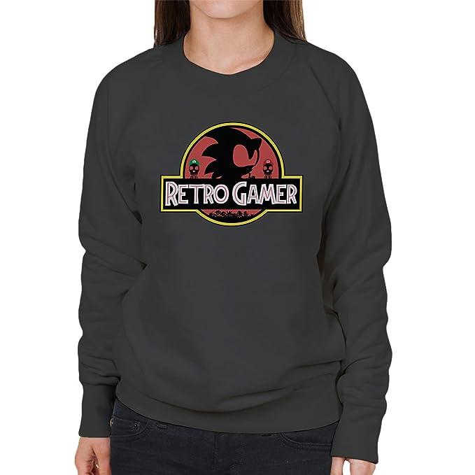 Retro Gamer Sonic Mario Jurassic Park Womens Sweatshirt