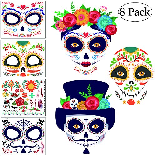 Sugar Skull Face Tattoo Kit, Day of the Dead Halloween Tattoos, Families Temporary Tattoos 8 Packs -