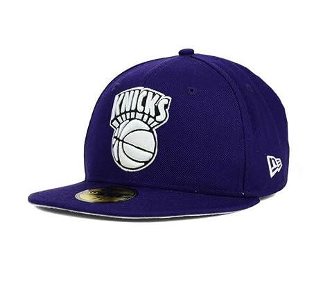 Amazon.com   New York Knicks Fitted 7 1 4 Hat Cap Purple   Sports ... 7485ba1b098