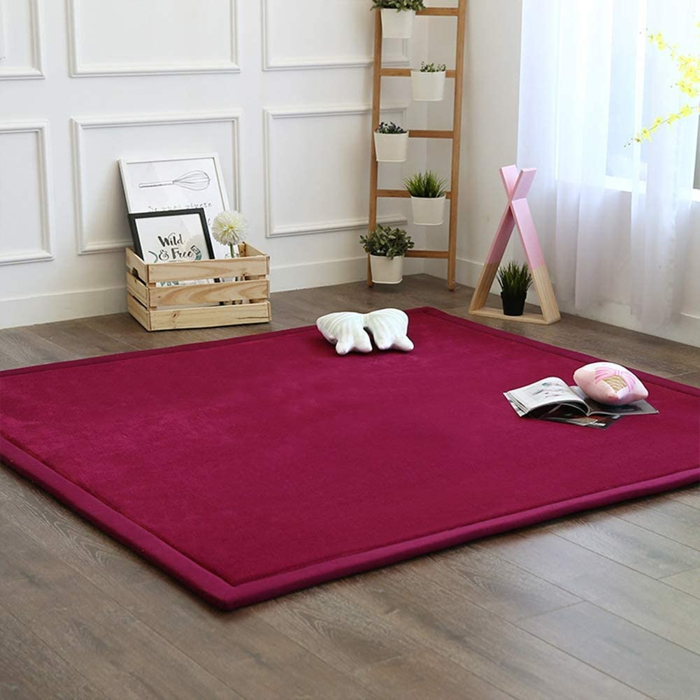 HIGOGOGO Japanese Coral Velvet Carpet Thickness:2cm 31 by 63 inch Children Play Mat Pure Color and Reversible Living Room Carpet Plush Foam Bedroom Mat Area Rug Yoga Mat//Exercise Mat