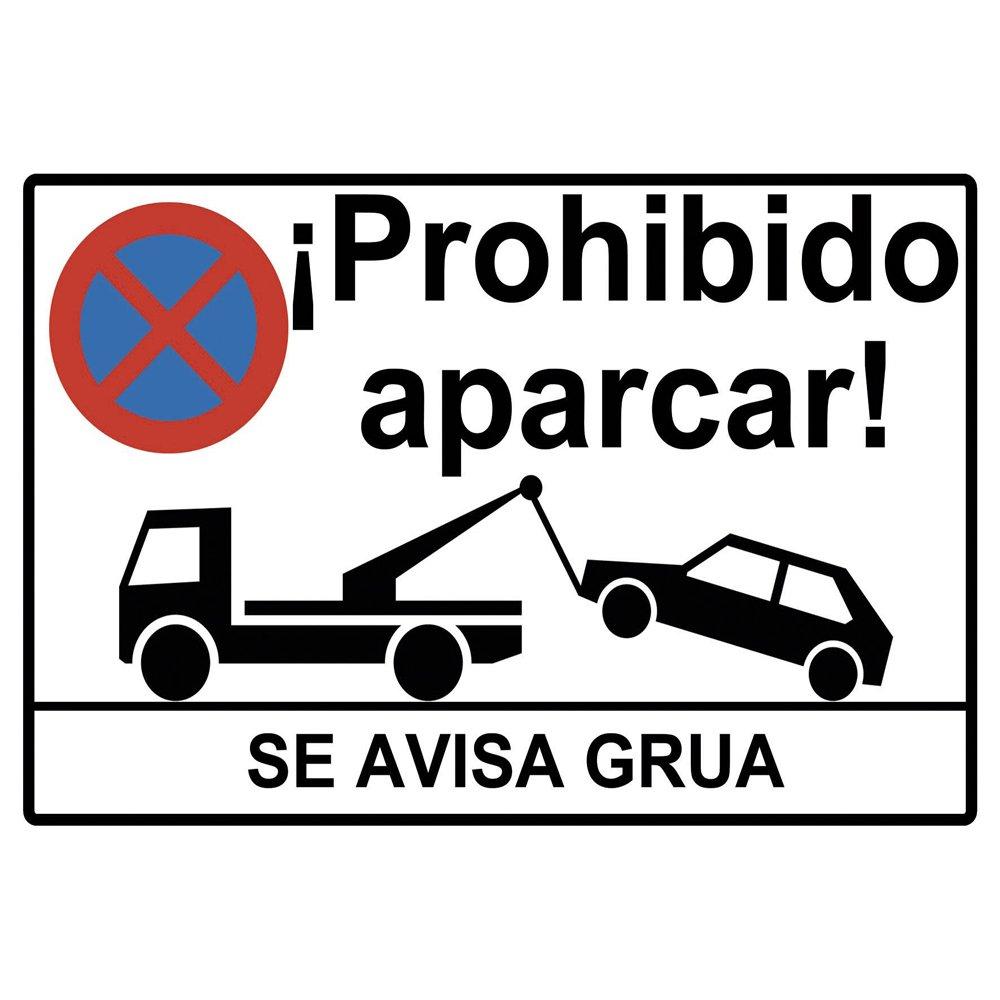 Cartel prohibido aparcar o placa prohibido aparcar. Esta Placa se avisa grua o cartel se avisa a grua está Fabricado en Forex PVC de 3mm de 30cm x 20cm. La placa prohibido aparcar se avisa a grua es un elemento muy alertante para evitar aparcamiento
