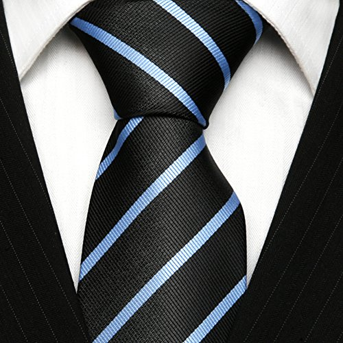 Tie TNS Handkerchief Striped UK Blue Striped Thin Cufflinks Classic Black Light Tie amp; tqOr6q