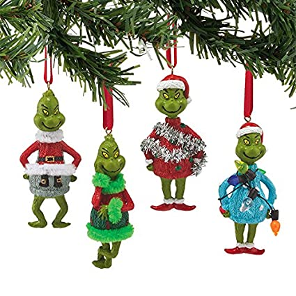 department56 grinch mini ornaments 4 asst