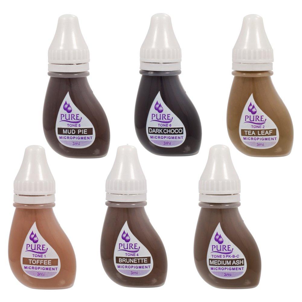 Amazon.com : BioTouch 36 BOTTLE 6 COLOR BROW SET Pigment Permanent ...