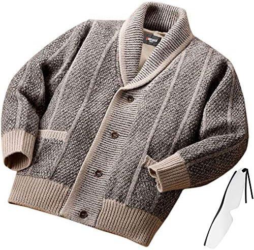pierucci ウール100% 裏地付き ヘチマ襟 メンズ カーディガン NE-010 秋 冬 しおり型ルーペ付き
