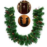 LUOEM Christmas Garland Decorating House Artificial Pine Cone Garlands with LED Lights for Home Decoration