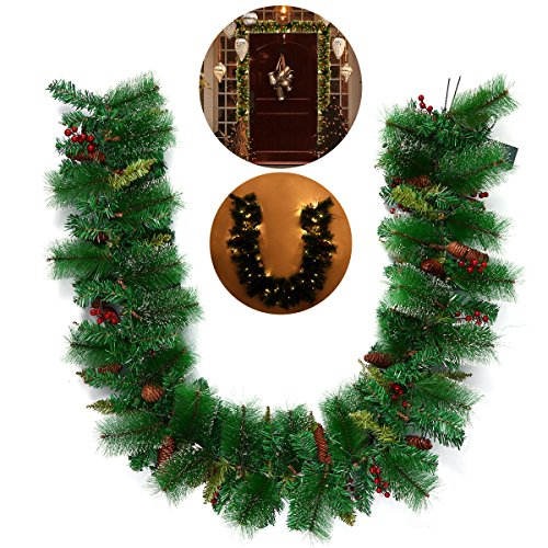 TINKSKY Christmas Wreath Decorative Garland with Pine Cone Acorn Pine Needle LED Lights for Home Decoration Photo Booth (Needle Christmas Wreath)
