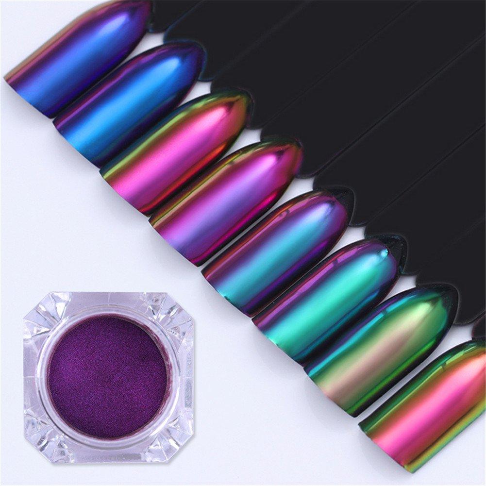 Born Pretty 0.5g Chameleon Mirror Nail Powder Nail Art Chrome Pigment Glitters Black Base Color Needed 8 Colors