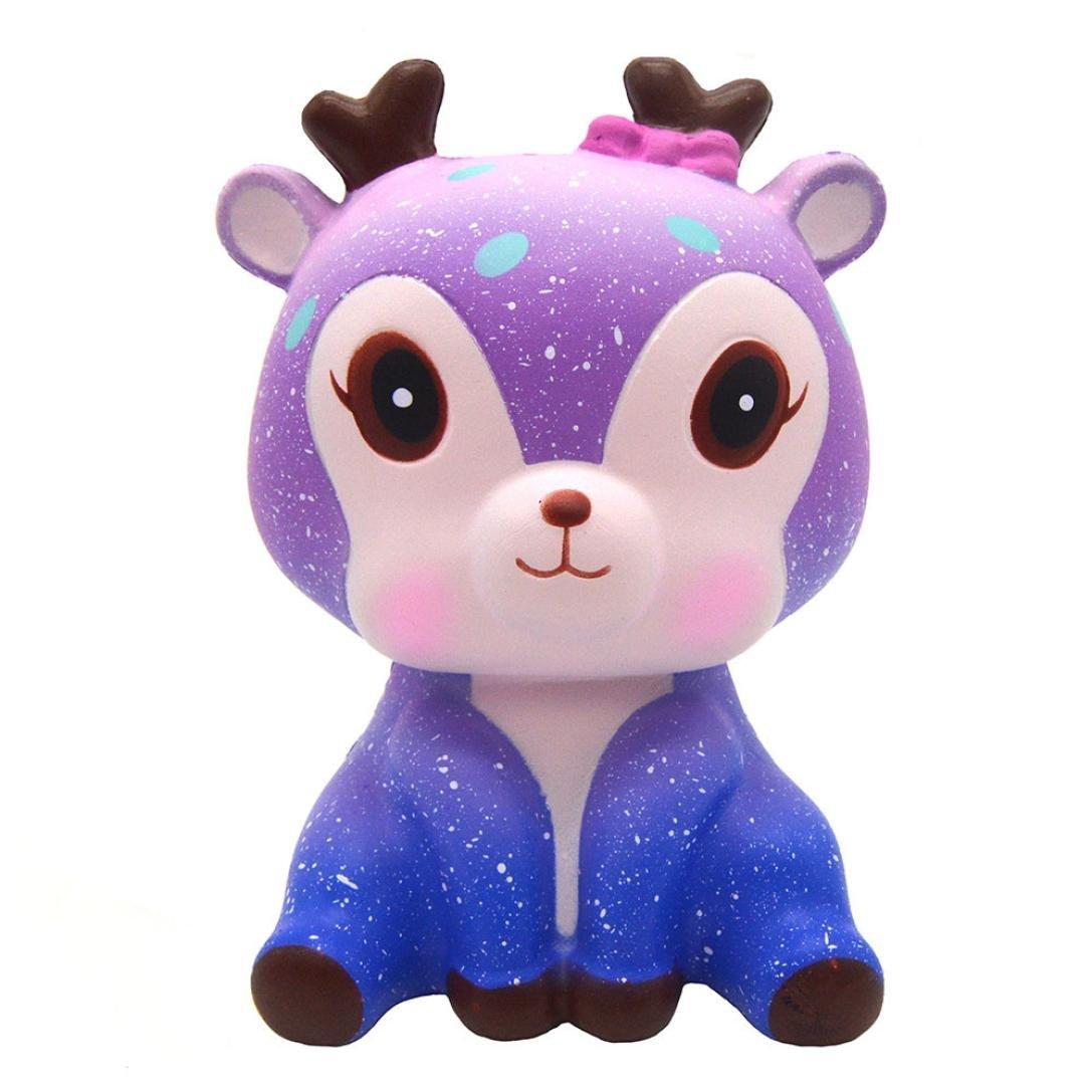 Walaka Squishy Pas Cher Kawai Cerf Licorne Lune Gateau Galaxie Panda Pop Corn Donut Frite Fraises Gateau Pasteque Parfumé Jouet Anti-Stress pour Adultes Enfants (A-01Unicorn / 12x8cm)