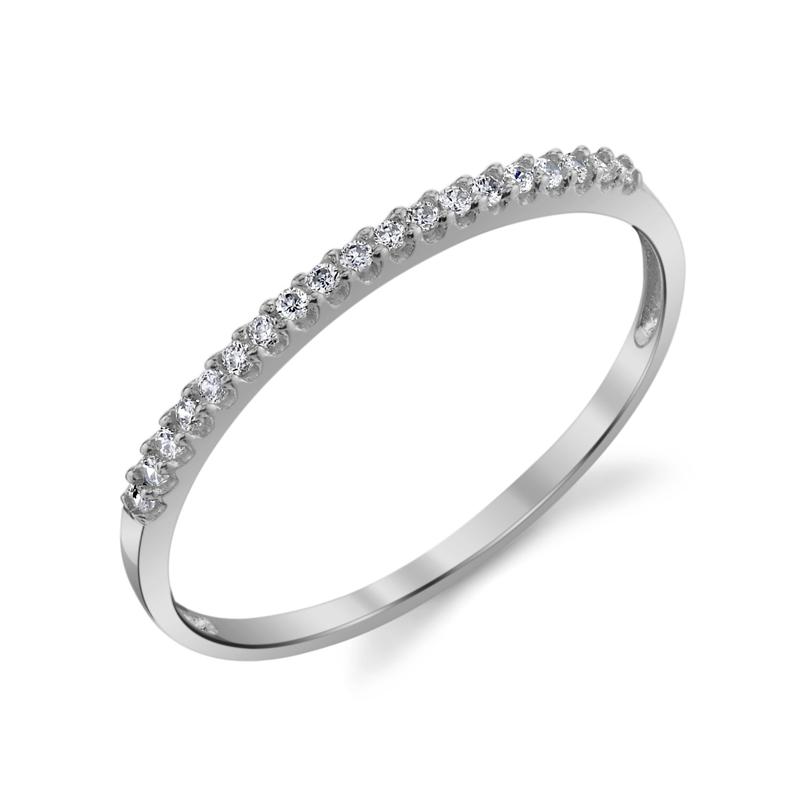 10k White Gold Lightweight Dainty CZ Wedding Stackable Band Size 8.5