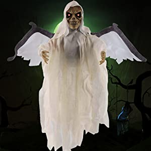 White Shake Wing Flying Skull Halloween Prop