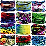 12Pieces Wide Headbands for Men and Women-Headwear Head Wrap Sweatband Neck Gaiter Magic Scarf Tube Mask Bandana Balaclava and Sport Scarf to Cycling Running Fishing Hiking (12PCS-525)