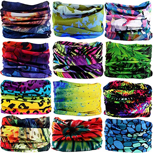 12Pieces Wide Headbands for Men and Women-Headwear Head Wrap Sweatband Neck Gaiter Magic Scarf Tube Mask Bandana Balaclava and Sport Scarf to Cycling Running Fishing Hiking (12PCS-525) (Used Stretch Wrap Machine)