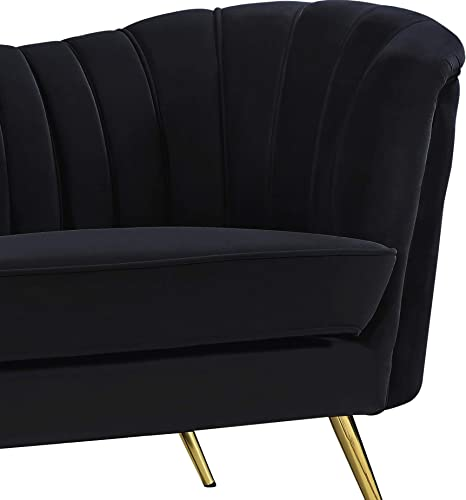 Meridian Furniture Margo Collection Modern Contemporary Black Velvet Upholstered Loveseat with Rich Gold Stainless Steel Base, 65 W x 30 D x 33 H,