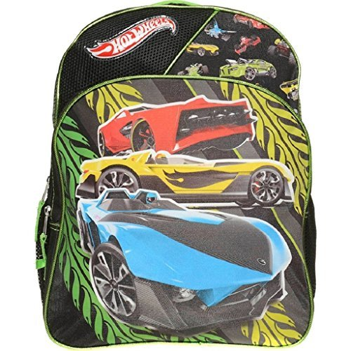 Hot Wheels Boys Backpack Cars Black Green