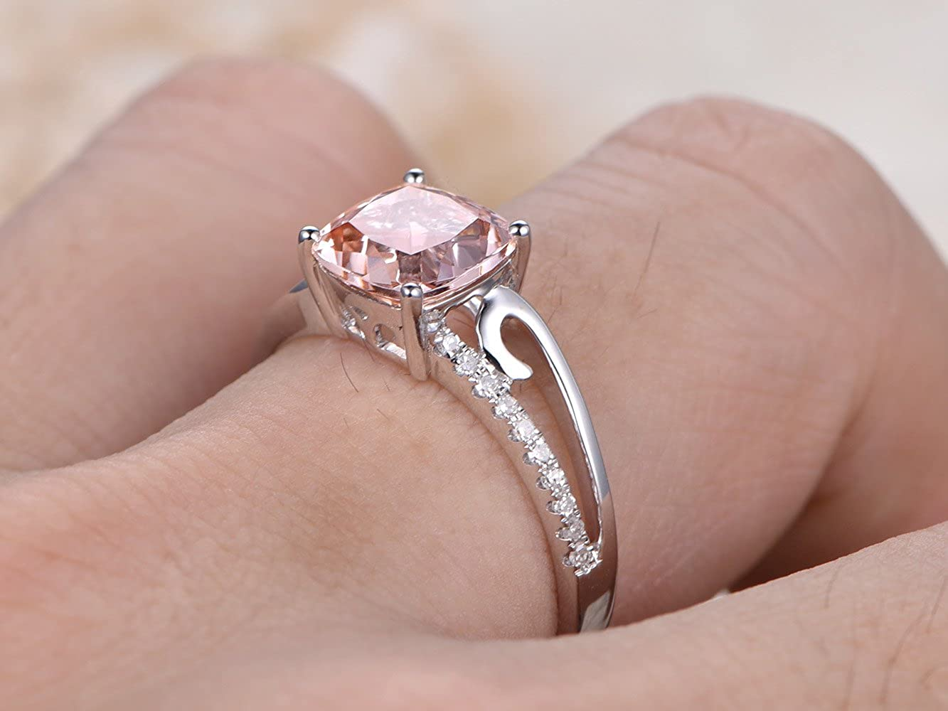 Amazon.com: Pink Morganite Engagement Ring Set White Gold Cushion ...