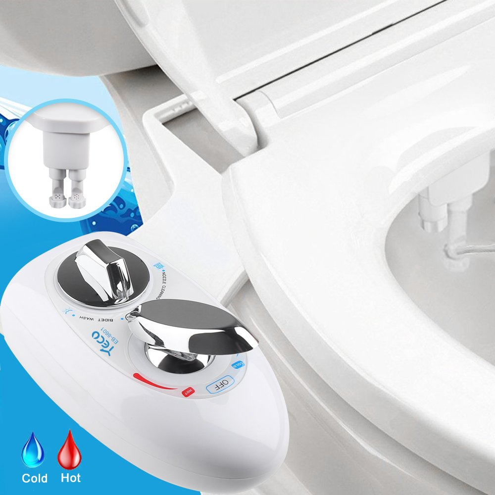 Bidet, YECO Self Cleaning Dual Nozzle (Frontal & Rear/Feminine Wash) Hot & Cold Water Spray Non-Electric Mechanical Baday Toilet Attachment- Adjustable Water Pressure&Temperature- Best Gift for Family