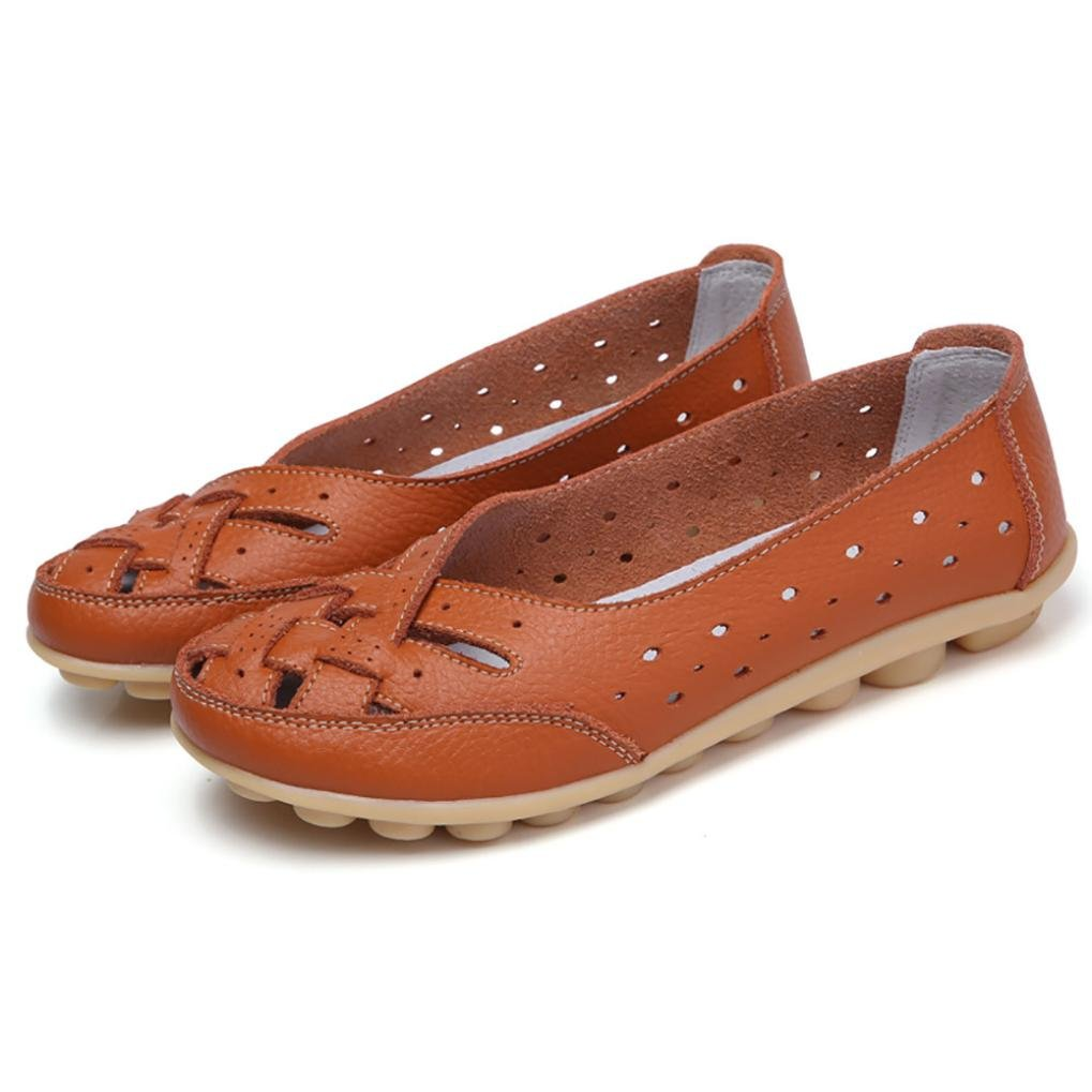Igemy Frauen Runde Toe Schuhe, Dame Einfarbig Flache Sandalen Leder Knouml;chel Lauml;ssige Slipper Soft Schuhe  37 EU|Orange