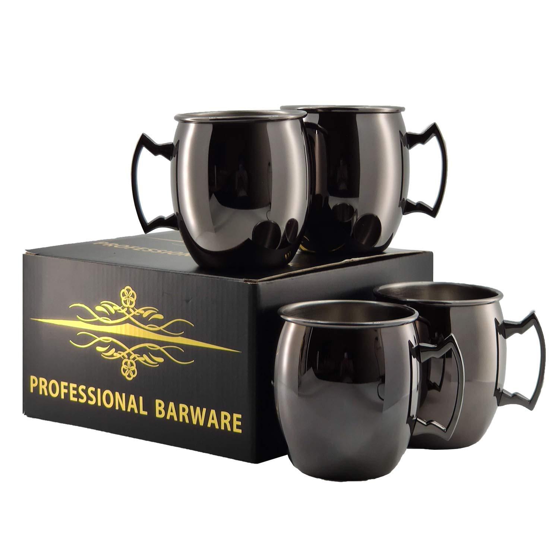 Moscow Mule Mug - Set of 4, Cocktail Mugs, Gunmetal Black Mirror Finishing 18oz/500ml, for Cocktail - MUGS0002-GMP (Gunmetal Black)