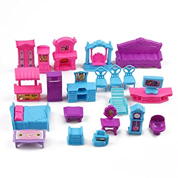 Preeyawadee 22 Pcs/Sets 3D Dolls House Furniture Set Plastic Miniature  Rooms Furniture Baby Kids