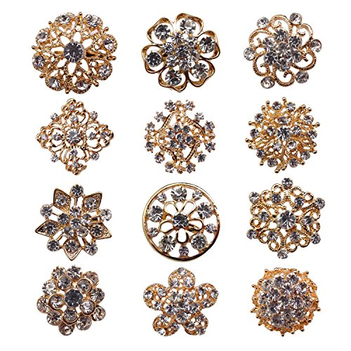 Zakia Wholesale Lot 12pcs Crystal Flower Bridal Brooch Pin Brooches Gold Silver (A SET GOLD (SMALL)) - Wholesale Fashion Brooches