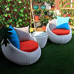 Aimir Modern Patio 3-Piece Wicker Rattan Eeg Cup Bistro Set White