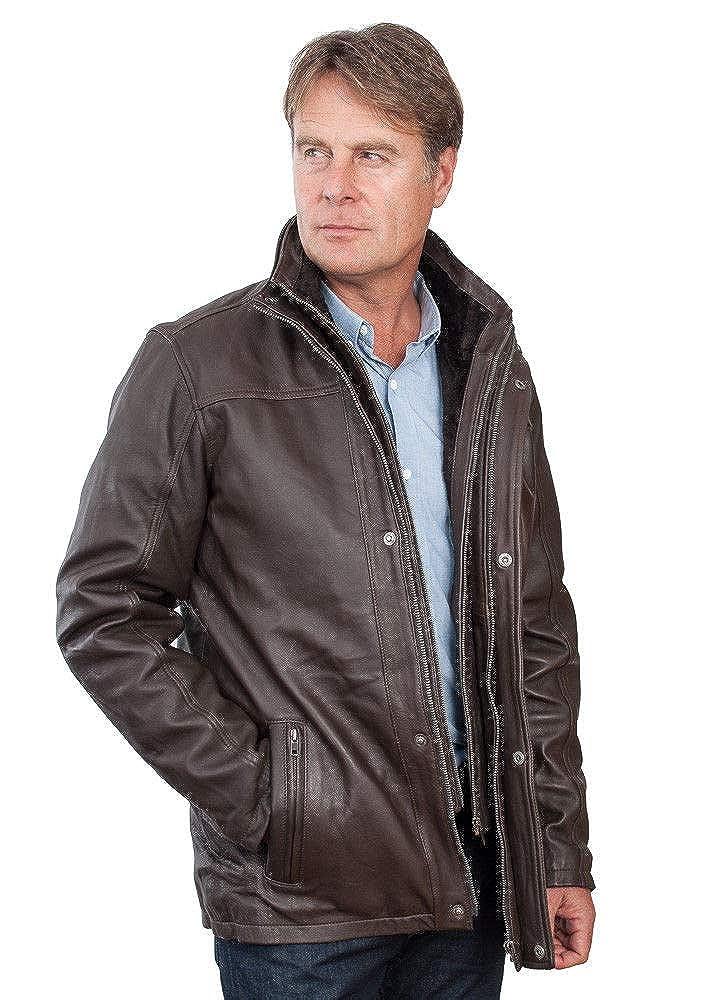 Shearling Leather Hommes Mi Longueur Manteau en Cuir Marron Chaud Classique