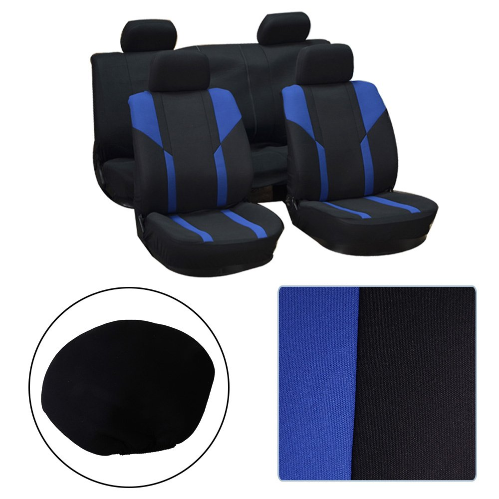 Black//Blue Stretchy Universal Seat Cushion w//Headrest Cover 100/% Breathable Automotive Accessories Washable Polyester for Most Cars OCPTY Car Seat Cover