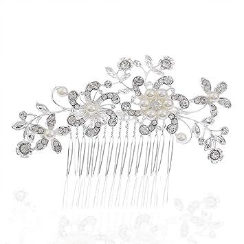 5f60b2417ca3 Cestval Bride Headdress Imitation Flower Rhinestones Pearls Hair Clip Comb  Hairpin Clip Jewelry Bridal Wedding Accessories