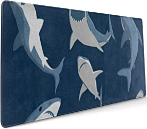 Large Mouse Pad Gaming Blue Cartoon Shark Print XXL Extended Mouse Pad Portable Large Desk Keyboard Pad Waterproof Writing Pad for Mouse Office, Home, Non-Slip Rubber Base, Huge 90x40