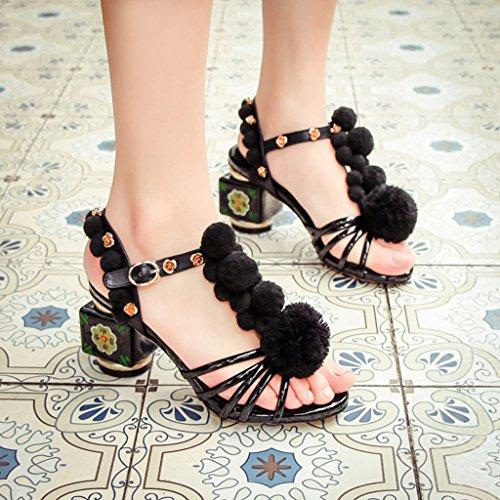De Retro Sandalias La Tacones Kaitzen Bomba Mujeres Stiletto Zapatos Boots Peep De Court Toe Tarde Moda Moda Altos Fiesta Hebilla EU38 Las Flores HXdXgw